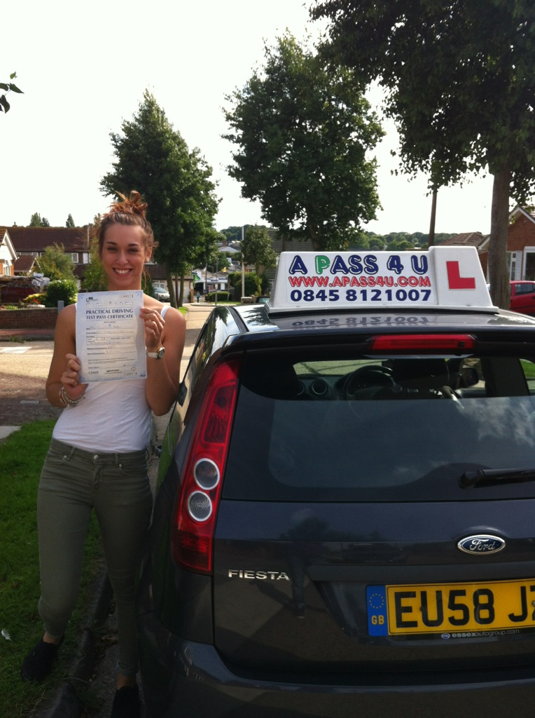 Gemma with her pass certificate