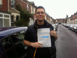 Adam Allen passes his driving test in Portsmouth