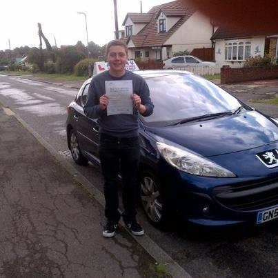 Luke Tanner passes his driving test in Basildon
