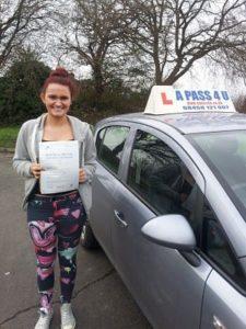 Elisha passes her drivinhjg test in Southampton