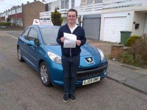 Daniel May passes his driving test in Basildon