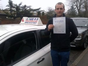 Darryl Effney passes his driving test in Brentwood