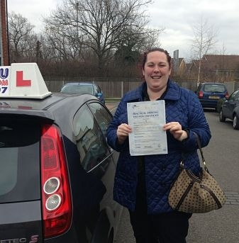 Emma Christmas passes her driving test in Basildon 1st time