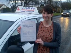Victoria Corke passes her driving test in Tilbury