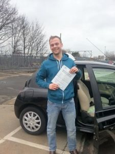Brendan Taylor passes his driving test in Southend on Sea