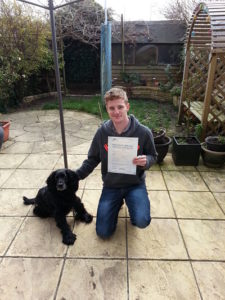 Adam Whitehead passed his driving test in portsmouth