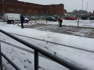 Clearing snow at Portsmouth driving test centre