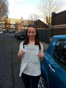 Donna Frampton passes her drivingtest in Portsmouth