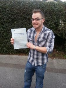 Jake McCluscky passed his driving test in Portsmouth