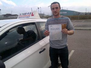 Joe Kirby passes his driving test in Basildon