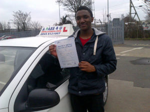 Talent Mhlanga passes his driving test in Southend on sea