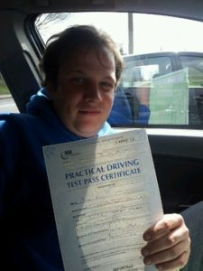 Allan Rice pass his driving test in Brentwood