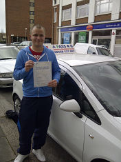 Ethan Spearman passes his driving test in Southend on Sea