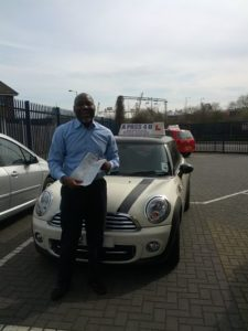 Israel lawson passes his driving test in Southend