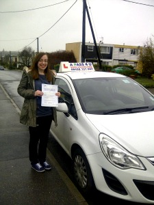 Kayleigh Calton passes her driving test in Tilbury
