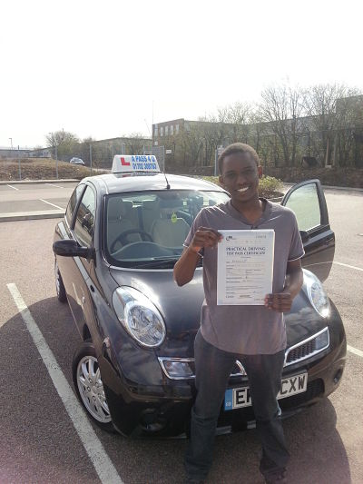 Takunde Dube passes his driving test in Basidon