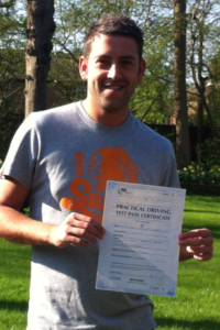 Ben Clements passes his driving test in Clacton on Sea