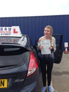Holly Hutchinson passes her driving test in Southend on Sea