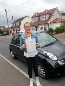 Jessie West passes her driving test in Tilbury