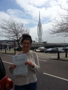 Katie Simmons passes her driving test in Portsmouth