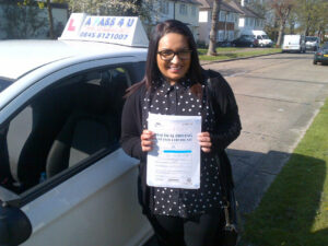 Kiren Patel passes her driving test in Clacton