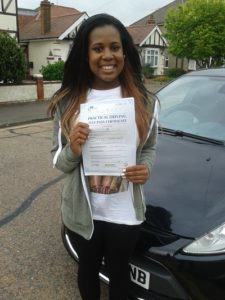Korinne O'Connor passed her driving test in Brentwood