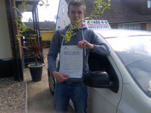 Luke Gilbey passes his driving test in Basildon