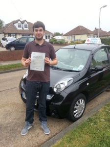 Matt Arrowsmith passes his driving test in Clacton