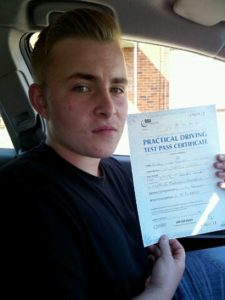 Ricky Lewis passes his driving etst in Bishops Stortford
