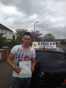 michael robertson passes his driving test in Clacton
