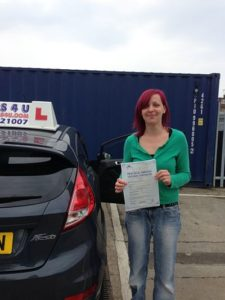 Michelle Cossington passes her driving test in Southend on sea