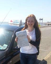 Alice Perry passes her driving test in Southend on Sea