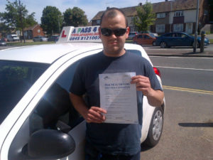 Ben Bloxham passed his driving test first time