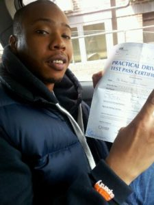Bradley Faponle passes his driving test in Brentwood