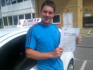 Callum Rank.passed his driving test in Chelmsford