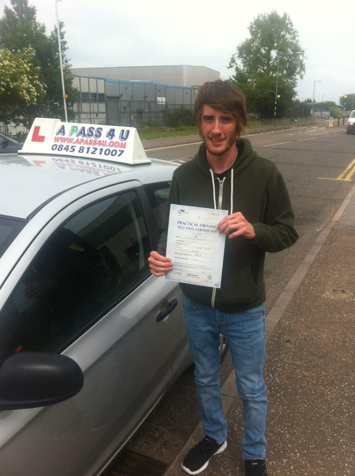 Luke Mulholland passes his driving test in Basildon, Essex