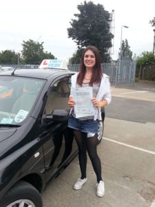 Paula Reading passes her driving test in Southend on Sea