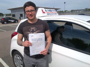 Sam Morris passes his driving test in Basildon