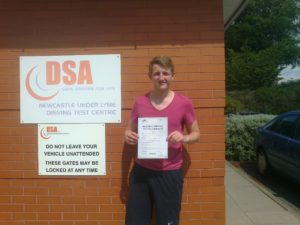 Tom Hadley passes his driving test in New Castle Under Lyme
