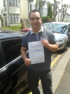 Duarte passes his driving test in Brentwood