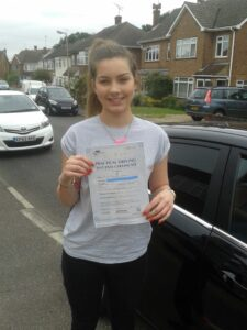 Freya Bird passes her driving test in Brentwood