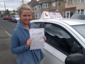 Paige passed her driving test in Clacton