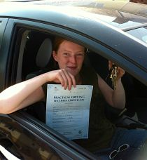 Ruth McMillan passes her driving test in Swindon
