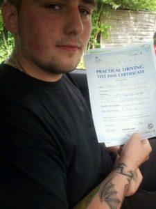 Adam Jennings passes his driving test in Bishops Stortford