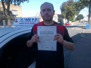 Darren Davies passes his driving test in Southend on sea