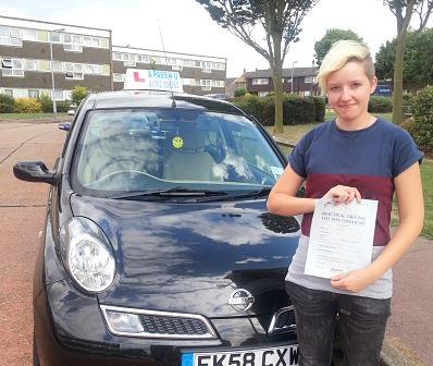 Joanne Stevens passes her driving test in Basildon