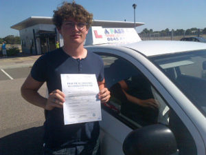 Lawson Heys passed his driving test in Basildon