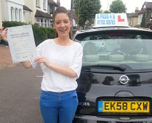 Lucy Heron passes her driving test in Southend on Sea
