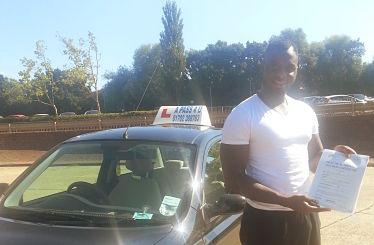 Abdul Azeez Obileye passes his driving test in Basildon