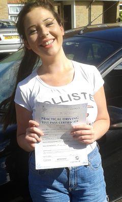 Sarah Duke passes her driving test in Basildon